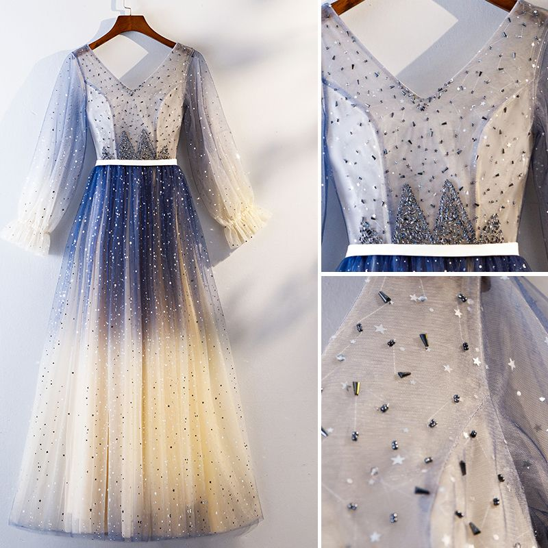 Chic / Beautiful Navy Blue Gradient-Color Evening Dresses  2019 A-Line / Princess V-Neck Beading Crystal Star Sequins Sash Long Sleeve Floor-Length / Long Formal Dresses