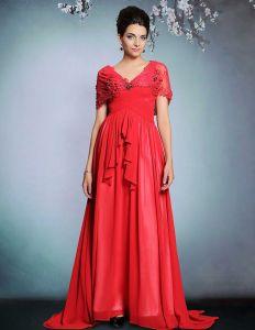 2015 Rote Spitze Bördelnder Gefalteter Langes Abendkleid