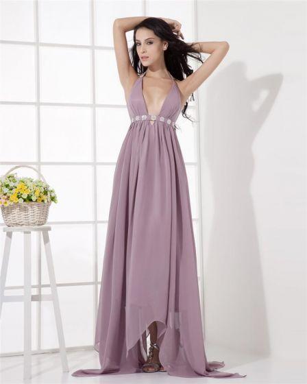 Empire Chiffon Halter Ruffle Beading Asymmetrical Evening Party Dresses