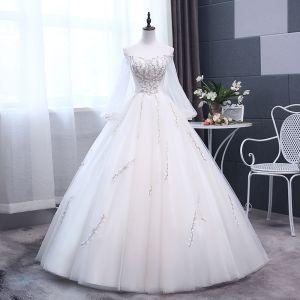 Elegant Ivory Wedding Dresses 2018 Ball Gown Embroidered Off-The-Shoulder Long Sleeve Backless Floor-Length / Long Wedding