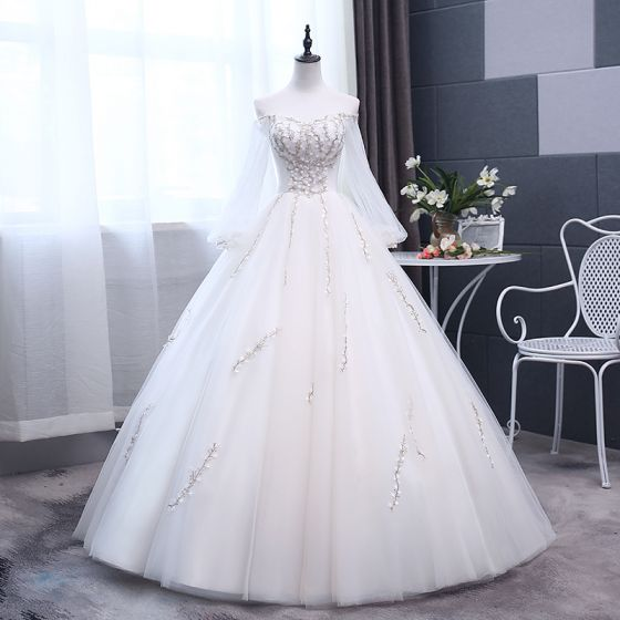 Elegant Ivory Wedding Dresses 2018 Ball Gown Embroidered Off-The-Shoulder Long Sleeve Backless Floor-Length / Long Wedding