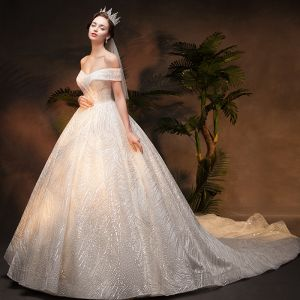 Luxury / Gorgeous Champagne Wedding Dresses 2019 Ball Gown Off-The-Shoulder Short Sleeve Backless Handmade  Beading Glitter Sequins Chapel Train