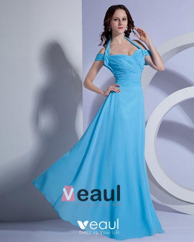 Blood Pool Halterneck Wedding Gown: Satin Ruffle V Neck Halter Floor Length Bridesmaid Dress Gown