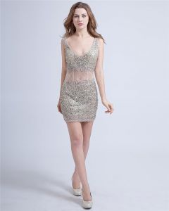 Sexy Sheath Tulle V-Neck Backless Beading Mini Cocktail Dresses