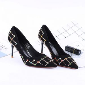 Chic / Beautiful Black 2018 Office High Heels Beading Rhinestone 8 cm Pumps Pointed Toe Stiletto Heels Womens Shoes