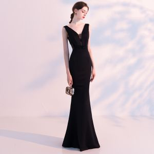 Sexy Black Evening Dresses  2018 Trumpet / Mermaid See-through V-Neck Sleeveless Beading Floor-Length / Long Backless Formal Dresses