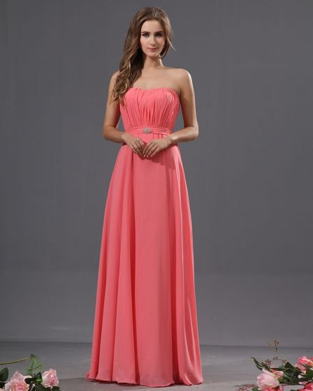Graceful Strapless Ruffles Chiffon Floor Length Bridesmaid Dresses