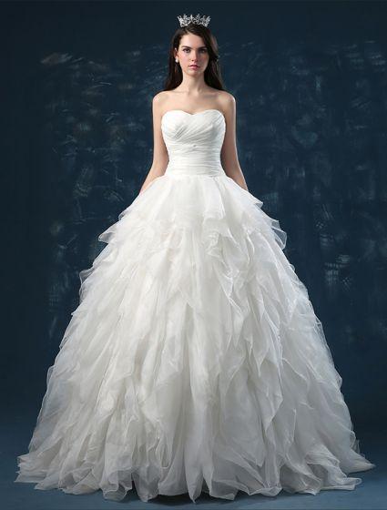 2015 Ball Gown Sweetheart Cascading Ruffles Organza Wedding Dress