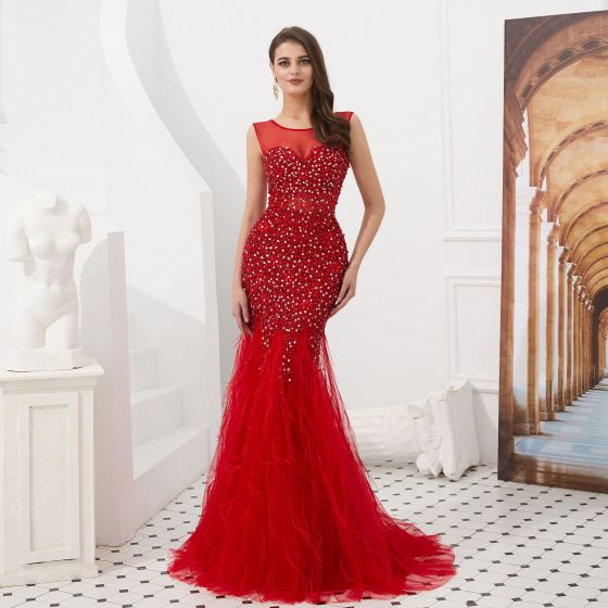 Luxury / Gorgeous Red Evening Dresses  2020 Trumpet / Mermaid See-through Scoop Neck Sleeveless Beading Sequins Feather Sweep Train Ruffle Backless Formal Dresses