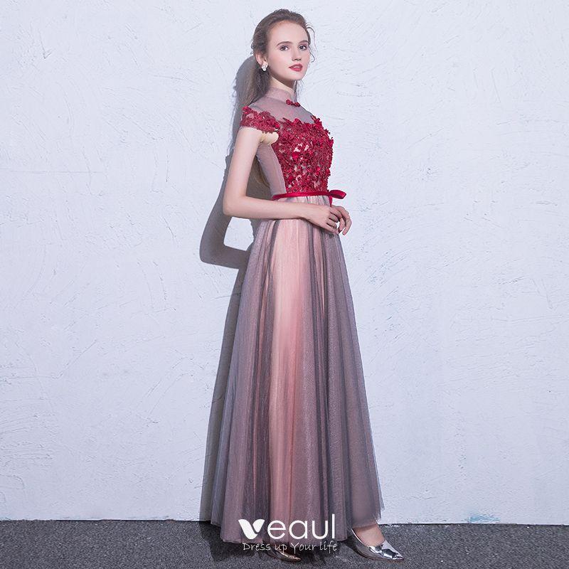 Piękne Burgund Sukienki Wieczorowe 2018 Princessa Aplikacje Z Koronki Kwiat Kryształ Kokarda Wysokiej Szyi Kótkie Rękawy Długie Sukienki Wizytowe