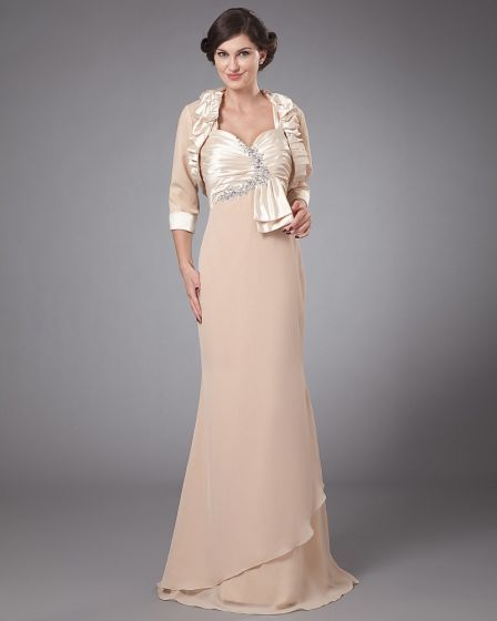 Satin Ruffle Pleated Queen Anne Floor Length Mothers of Bride Guests Dresses