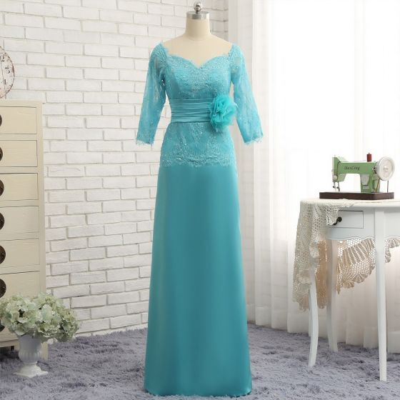Classic Elegant Jade Green A-Line / Princess Mother Of The Bride Dresses 2019 Floor-Length / Long V-Neck Lace Organza Handmade  Beading Sequins Appliques Backless Church Wedding Party Dresses