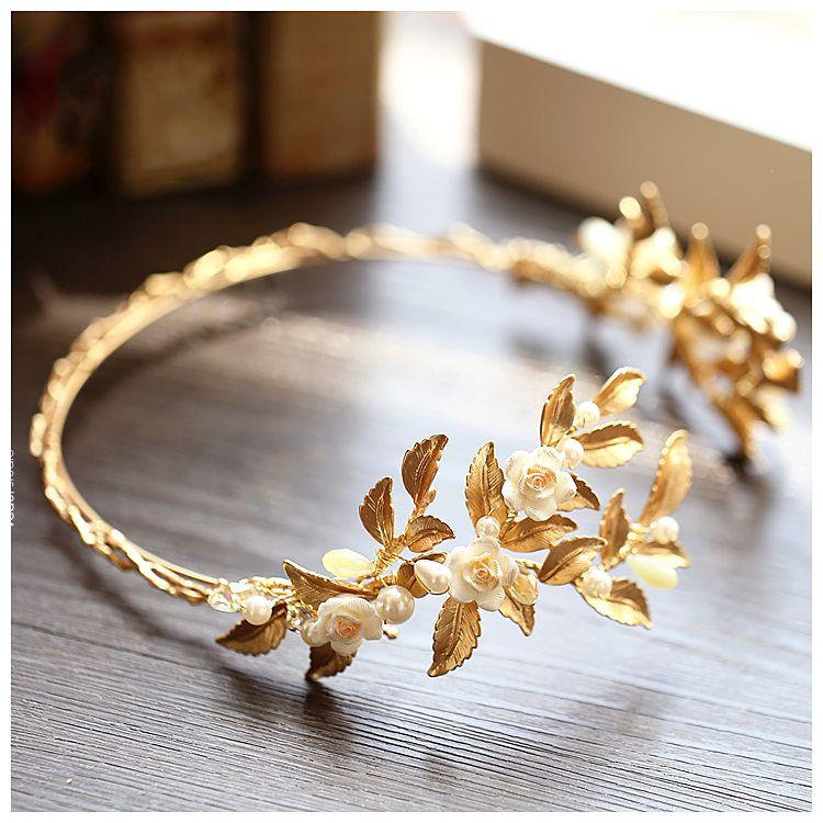 Elegant Bridal Hair Accessories Gold 2017 Metal Pearl Headpieces