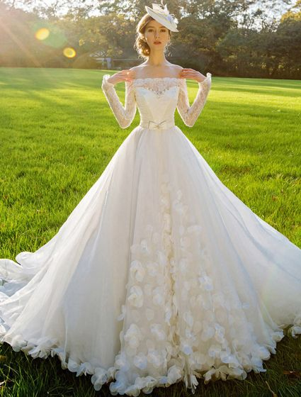 2015 A-linie Quadratischen Ausschnitt Langen Ärmeln Schärpe Und Schleife Lange Tailing Organza Brautkleid