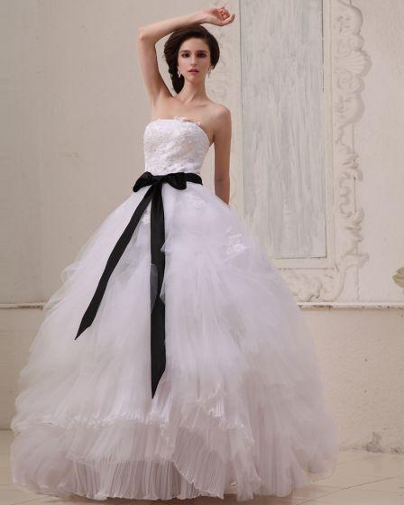 Firkantet Ermelos Gulv Lengde Permanent Fold Gasbind Ball Kjole Brudekjoler Bryllupskjoler