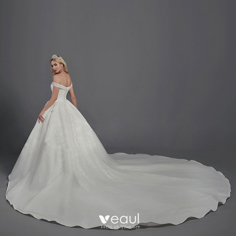 Sparkly Bling Bling White Ball Gown Wedding Dresses 2020 Crossed Straps Off The Shoulder Backless Beading