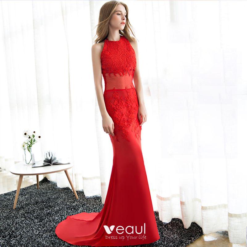 Stylowe Modne Czerwone Sukienki Wieczorowe 2018 Syrena Rozkloszowane Długie Tiulowe Wysokiej Szyi Aplikacje Bez Pleców Wieczorowe Sukienki