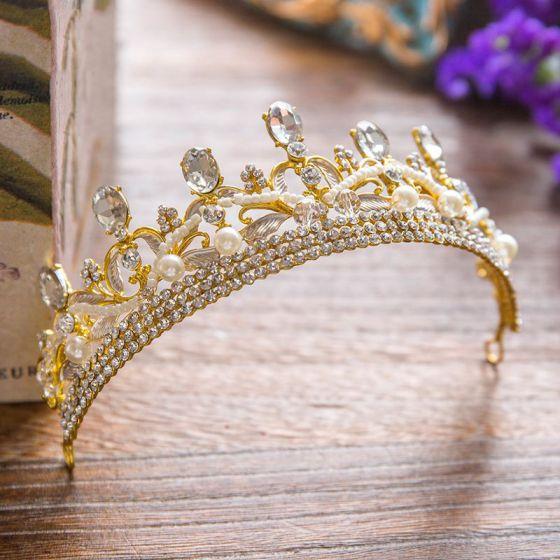 Luxury / Gorgeous 2017 Gold Crystal Rhinestone Metal Tiara Bridal Jewelry