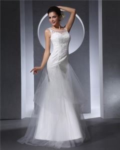 Charming Style Square Floor Length Lace Tulle Women Mermaid Wedding Dress