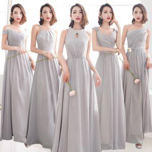 Erschwinglich Grau Chiffon Brautjungfernkleider 2019 A Linie Lange Rüschen Rückenfreies Kleider Für Hochzeit