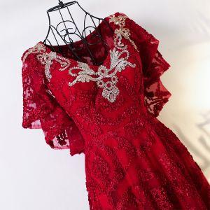 Chic / Belle Rouge Style Chinois Robe De Soirée 2017 Princesse V-Cou Manches Courtes Bretelles croisées Appliques Fleur Thé Longueur Dentelle Soirée
