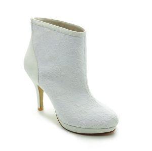 Simple Winter Bridal Shoes Lace Stilettos Boots
