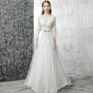 Chic / Beautiful Outdoor / Garden White Wedding Dresses 2017 A-Line / Princess Scoop Neck Long Sleeve Appliques Lace Bow Sash Court Train Backless Pierced