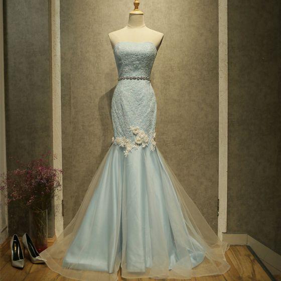 Chic / Beautiful Sky Blue Evening Dresses  2017 Trumpet / Mermaid Strapless Sleeveless Sequins Appliques Flower Rhinestone Sash Sweep Train Backless Formal Dresses