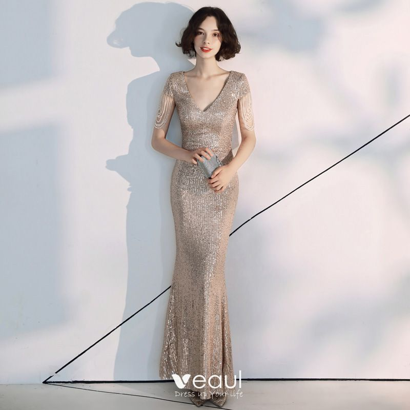 Glitzernden Silber Pailletten Abendkleider 2020 A Linie V Ausschnitt Kurze Armel Perlenstickerei Lange Festliche Kleider