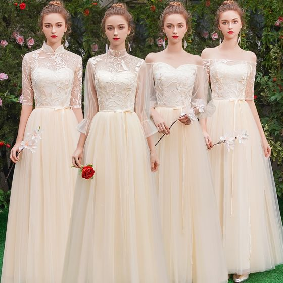 Affordable Champagne See-through Bridesmaid Dresses 2019 A-Line / Princess Sash Appliques Lace Floor-Length / Long Ruffle Backless Wedding Party Dresses