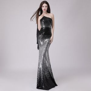Affordable Black Evening Dresses  2018 Trumpet / Mermaid One-Shoulder Sleeveless Glitter Sequins Floor-Length / Long Backless Formal Dresses