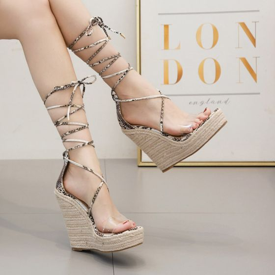 Sexy Beige Casual Womens Sandals 2020 Snakeskin Print Ankle Strap 13 cm Wedges Open / Peep Toe Sandals