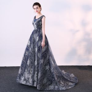 Chic / Beautiful Navy Blue Evening Dresses  2018 Ball Gown Glitter Sequins V-Neck Backless Sleeveless Court Train Formal Dresses