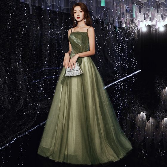 Elegant Green Prom Dresses 2020 A-Line / Princess Spaghetti Straps Sleeveless Beading Glitter Tulle Sweep Train Ruffle Backless Formal Dresses