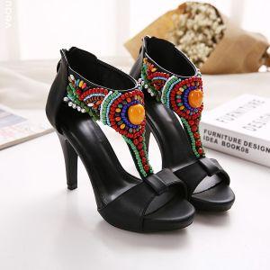 Mode Etnisch Zwarte Toevallig Leer Sandalen Dames 2020 Kralen T-Strap 11 cm Naaldhakken / Stiletto Peep Toe Sandalen