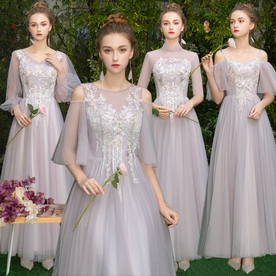 f84e79dc302 Elegant Grey Blushing Pink See-through Bridesmaid Dresses 2019 A-Line    Princess Appliques Lace Floor-Length   Long Ruffle Backless Wedding Party  Dresses