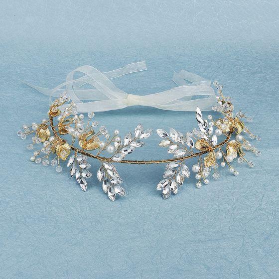 Traditionell Gold Kopfschmuck 2020 Metall Perle Strass Kristall Haarschmuck Braut