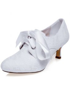 Vintage Embroidered Satin Wedding Shoes White Pumps Bridal Shoes Stiletto Heels
