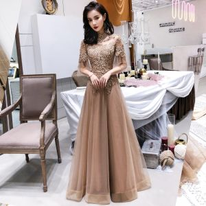 Modern / Fashion Champagne See-through Evening Dresses  2019 A-Line / Princess High Neck Bell sleeves Appliques Lace Beading Floor-Length / Long Backless Formal Dresses