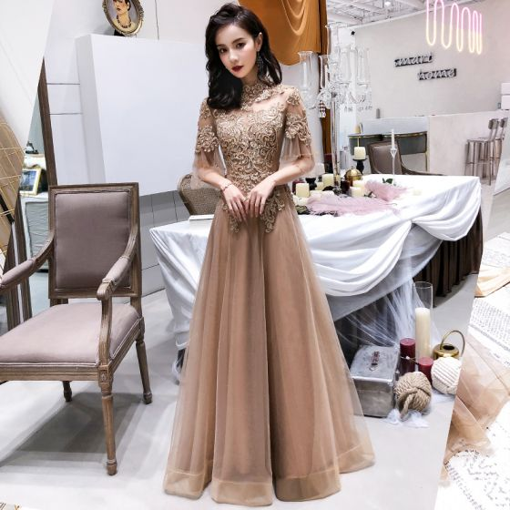 a1c4a5c75e8 Modern   Fashion Champagne See-through Evening Dresses 2019 A-Line    Princess High Neck Bell sleeves Appliques ...
