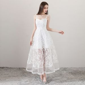 Charming Ivory See-through Summer Evening Dresses  2018 A-Line / Princess Spaghetti Straps Sleeveless Appliques Lace Ankle Length Ruffle Backless Formal Dresses