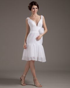 V-Neck Lace Handmade Flower Mini Wedding Dresses
