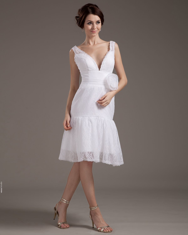 V-Neck Lace Handmade Flower Mini Wedding Dresses