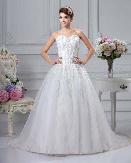 Blonder Applikasjon Ermelos Satin Kjaereste Katedralen Tog Ball Kjole Brudekjoler Bryllupskjoler