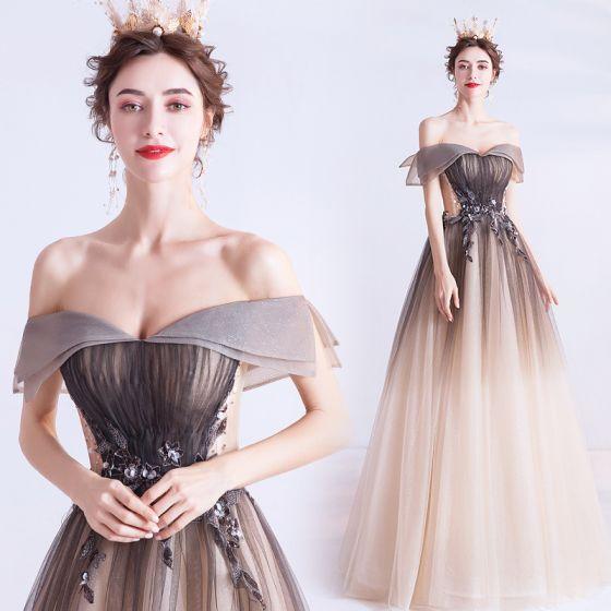 Eleganckie Czekolada Gradient-Kolorów Sukienki Na Bal 2020 Princessa Przy Ramieniu Frezowanie Cekiny Kótkie Rękawy Bez Pleców Długie Sukienki Wizytowe