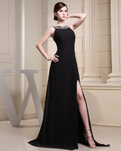 Fashion Chiffon Charmeuse Silk Beaded Crew Neck Court Train Sleeveless Women Evening Dress