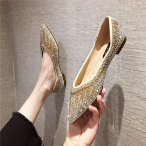 Sparkly Gold Street Wear Rhinestone Flat Womens Shoes 2020 Pointed Toe