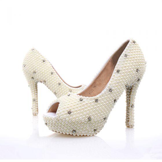 Sexy Marfil Perla Rhinestone Zapatos de novia 2020 Cuero 12 cm Stilettos / Tacones De Aguja Punta Estrecha Boda Tacones