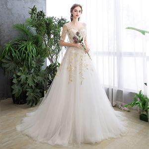 Affordable Ivory Wedding Dresses 2019 A-Line / Princess V-Neck Sequins Lace Flower Short Sleeve Backless Sweep Train