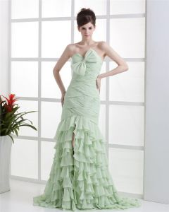 Chiffon Beads Strapless Pleated Floor Length Prom Dresses